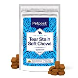 Petpost | Kauhappen mit Hühnchen-Geschmack für Tränenflecken - Leckere Hühnchen-Happen - Natürliche Behandlung für Tränenflecken auf weißem Fell - 90 Kauhappen