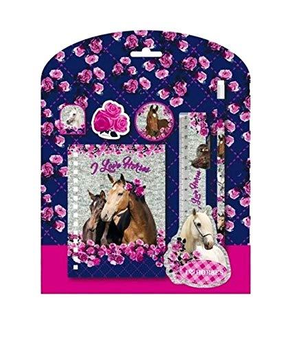 süßes Pferde Set Schreibset 6 Teile- bestehend aus Schreib Notizblock, Bleistift, Lineal, Klammer, Anspitzer, Radiergummi - tolles Geschenk für den Schulanfang - zum befüllen der Schultüte