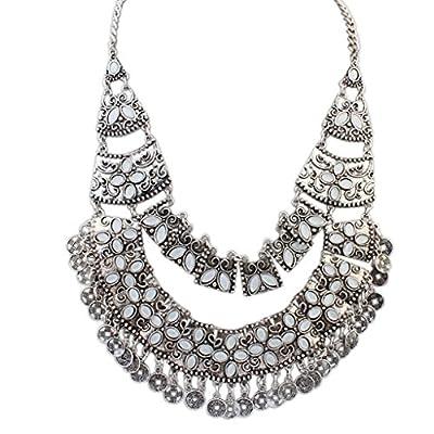 Adisaer Indianerschmuck Vergoldete Halskette Damen Kette Collier Stammes Metall Block Silber