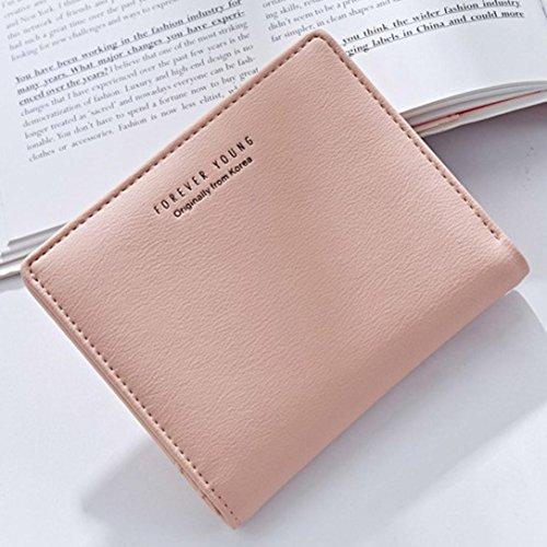 Portafoglio Donna, Tpulling Borsa della borsa del supporto della carta del raccoglitore della borsa della frizione delle donne (Green) Pink