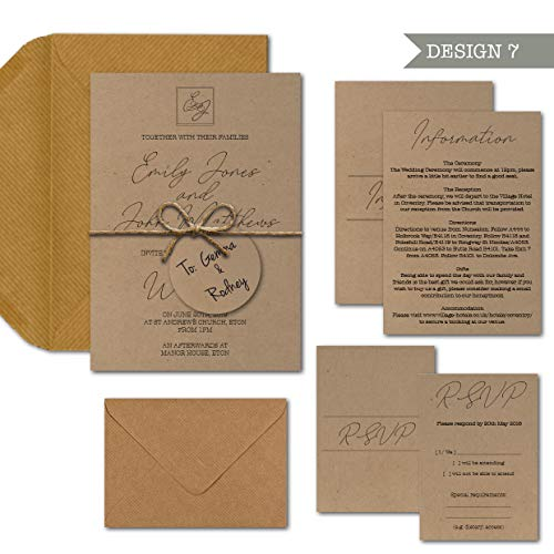 68d2203782ce Made by Mika Rustic Kraft Lot d'invitations de Mariage Motif Courbes  d'écriture à la Main comme illustré (1 Paquet Complet Kraft)