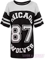 NEW WOMENS AMERICAN JERSEY FOOTBALL TOP 87 CHICAGO WOLVES PRINT VARSITY COLLEGE T SHIRT 8-14 (M/L (UK 12-14), BLACK (MAIN))