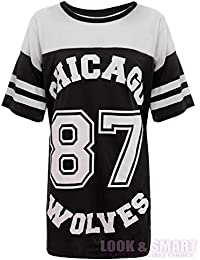 FLIRTY WARDROBE TOP MAILLOT DE FOOTBALL AMÉRICAIN 87 CHICAGO LOUPS T-SHIRT STYLE UNIVERSITAIRE IMPRIMÉ FEMME