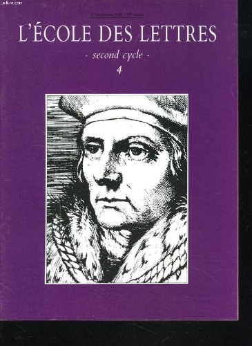 L'ECOLE DES LETTRES, SECOND CYCLE, N4, 1er NOV. 1987. GROUPEMENT THEMATIQUE DE TEXTES : FIGURES DE LA MARGINALITE A TRAVERS LES SIECLES par VERONIQUE BARTOLI / POESIE CONTEMPORAINE. YVES BONNEFOI / ZOLA ET LE PRETRE DE PIERRE OUVRARD / ...