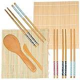 9 Piezas Kit Sushi Maker, Kit para Hacer Sushi de Bambú - 2 Esterilla de Bambú Sushi, 5 Pares de Palillos, 1 Paleta de Arroz, 1 Esparcidor de Arroz| 100% Natural, Ecológico y Carbonizado.