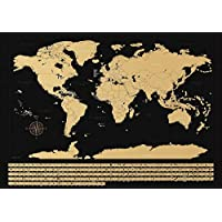 NIMAXI Carte du monde à gratter avec drapeaux à gratter Noir brillant Format XXL 83 x 58 cm