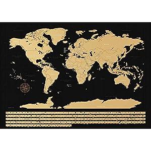 NIMAXI – Mapamundi para rascar con Banderas | Mapa Mundial de Pared en Negro Grande – 83×58 cm