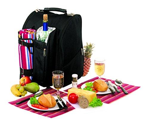 Picknick Rucksack für 2 Personen mit Isolierfach und Picknickdecke mit viel Zubehör