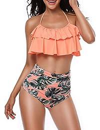 Schwimmen Charmleaks Frauen Bikini Set Halter Bademode High Neck Badeanzug Vintage Gedruckt Badeanzug Bademode Bikini 2019 New Fashion Style Online Bikini-set