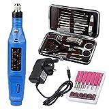 Garberiel - Kit de taladro para uñas, cuidado profesional de uñas, kit de pedicura eléctrica, kit de cuidado de uñas, kit de uñas, herramienta de arte, punta 6 opcional, azul