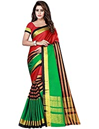 Silk Zone Women's Cotton Silk Latest Multicolored Saree With Blouse