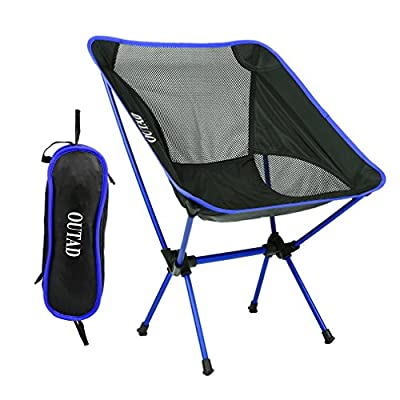 OUTAD Camping Chair Lightweight Folding Fishing Chair Portable Outdoor Chair with Carry Bag for Hiking Touring Beach Picnic Garden, Heavy Duty Max Load 330lb Capacity (Blue) from Ele