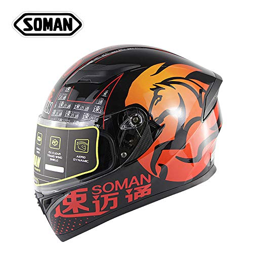 SOMAN Motorrad Motorrad Motorrad kleine Full Face Scooter Helm mit Flip Front Double Visor, Removable Lining, Top/Front Air Vents & Protective Cover,XL(61~62cm) (Front Top Vent)