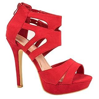Elara Damen Pumps | Moderne Cut Out Stilettos | Wildlederoptik High Heels Farbe Rot, Größe 36