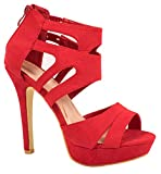 Kayla Damen Pumps | Moderne Cut Out Stilettos | Wildlederoptik High Heels | chunkyrayan LL85-Rot-39