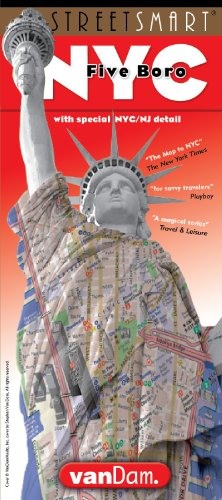 StreetSmart New York City Five Boros Map by VanDam - Laminated pocket sized fold out map to the Five Boros of NYC with all attractions, museums, hotels and sight plus subway map, 2017 Edition -