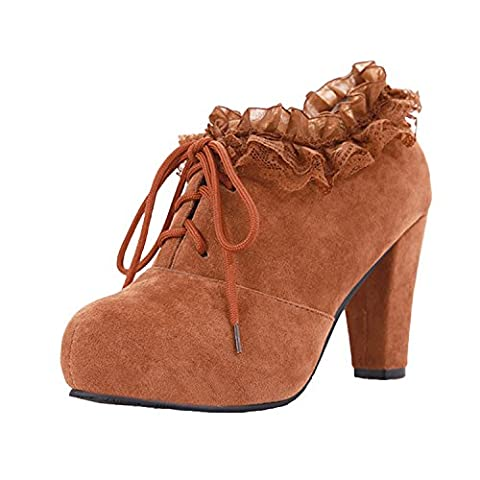 Azbro Women's Lace Trimming Block Heels Lace up Boots, Yellow EURO36/US5/UK3 (5 Attach Fall)