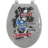 Arvix - Abattant de Toilette en Bois compressé MDF Charnière métal Siege WC Standard Chien Dog