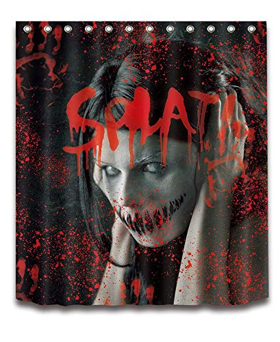 rhang Blutige Hand, Scary Frau Zombie, 150cm x180cm Wasserdicht Polyester Stoff Badezimmer Duschvorhang Set mit Haken, Keine Rod ()