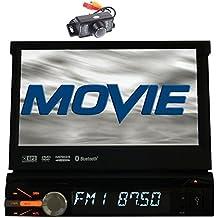 Autoradio 1DIN 7''Touch doble pantalla del sistema de navegación GPS coches reproductor de DVD de alta definición en la rociada azul y rojo color de la pantalla motorizada Manos libres estéreo Bluetooth Autoradio, puerto USB, SD, AUX, FM / AM / RDS receptor de radio + la cámara del revés