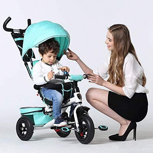 Kinderwagen 5 in 1 Kinder Dreirad 12 Monate bis 6 Jahre 360   & deg; Rotierender Sitz 5-Punkt-Sicherheitsgurt 3 Rad Fahrrad Reflektierende Streifen Verstellbarer Griff Bar Faltbare Sonne Baldachin Kin