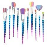 Qivange Pinceau maquillage licorne, Pinceaux pour les yeux, Pinceaux de maquillage(10pcs, Bleu)