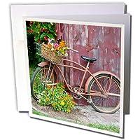 3dRose - Tarjeta de felicitación para bicicleta vieja con flores en cesta, junto a la