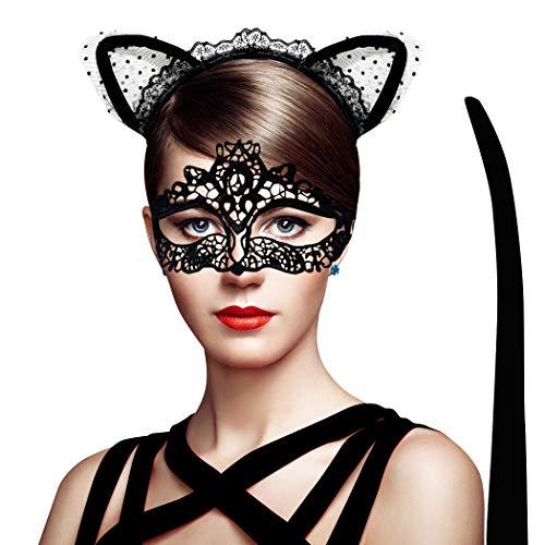 Katze Frauen Maske - AivaToba Katzenohren Haarreif & Lace Masquerade