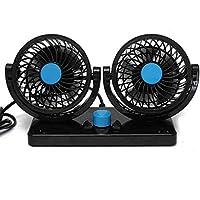 Ventilador de coche eléctrico de 2 velocidades 12 V para coche, giratorio 360 grados, ajustable con doble cabezal para coche, ventilador de aire de ...