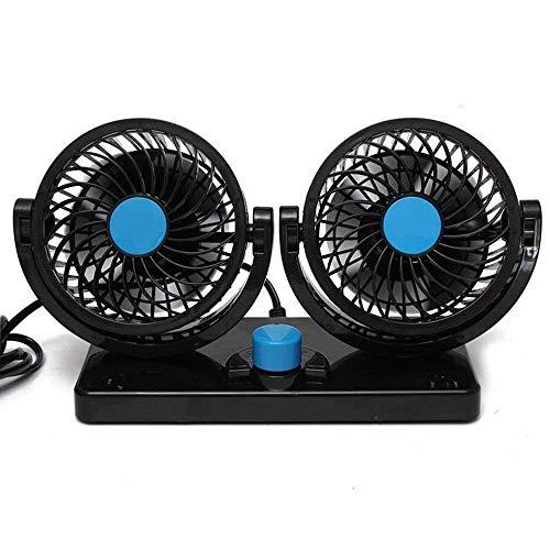 2Speed Car Fan 12V Electric Car Fahrzeug Fan 360Grad drehbar einstellbar Dual Head Auto Auto Cooling Air Fan–Leistungsstark leise 2Speed Change Summer Cooling Air Circulator Low Noise für hinten Sitz Beifahrersitz