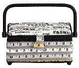 Prym Monochrome Maßband und Nähen Slogan Print Nähkorb mit Schwarz Trim, Baumwolle, mehrfarbig, klein