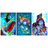 """Virgin Trends"" - Paintings of Shree Krishna Playing Flute Wall Decor Wall Decals Wall Hangings Home Decor Painting- Combo of 3 Posters"