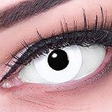 Farbige Kontaktlinsen Jahreslinsen Vampir Funnylens 1 Paar weisse weiße Crazy Fun White Out Jahres Linsen Perfekt zu Karneval, Fasching oder Fasnacht mit gratis Kontaktlinsenbehälter ohne Stärke