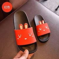 fankou The Bathroom Has a Non-Slip Bath Slippers Summer Home Stay Indoor Slippers Thick Soft Bottom Plastic Cute Cat Cool Slippers Female,33, Red Rabbit