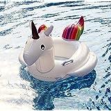 عوامة سباحة للاطفال قابلة للنفخ للاستخدام في البحر وحمام السباحة على شكل حصان يونيكورن بالوان قوس قزح - xx