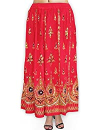Fabcolors Casual Wear Full Length Rayon Flared Long Skirt With Sequence Embroidery Work ( Red )