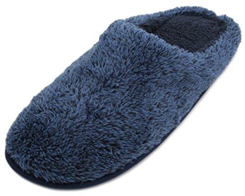 SlumberzzZ Hausschuhe Herren Coral Fleece offener Rücken Mule Slipper Blau