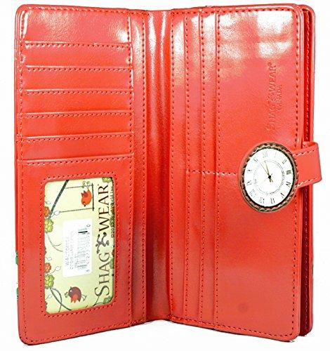 Shagwear portafoglio per giovani donne , Large Purse : Diversi colori e design : orologi rosso salmone/ Clocks