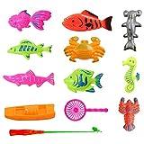 NaiCasy Angeln Spielzeug, Baby Badespielzeug 10 Stück Magnetic Net Angelspiel Angeln Lernen Bildung Spielen Set Outdoor Fun Beste Geschenk für Kinder (Bunt)