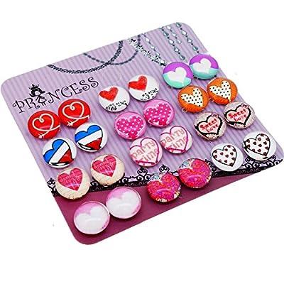 Heart Pattern Glass Dome Magnetic Clip-on Earrings for Teen Girls Kids Women non-pierced Ears
