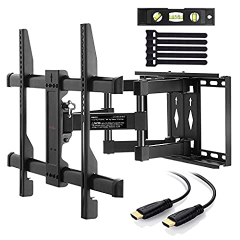 TV Bracket Wall Mount Swivels, Tilts & Extends, 37-70 Inch LED OLED LCD Flat Screen Plasma TVs up to 45KG! Strong & Safe TV Wall Bracket Fits VESA 600x400mm, TV Mount with 3m HDMI Cable & Bubble