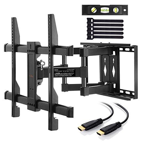 Perlegear Wandhalterung TV Schwenkbar Neigbar, Ausziehbar Fernseher Halterung Curved 4K LED LCD OLED Flachbildfernseher, 94-178cm 37-70 Zoll, VESA 200x100mm-600x400mm 1,8m HDMI Kabel, Schwarz