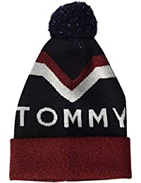 Hilfiger Denim Damen Strickmütze Tommy Chevron Pom Beanie Blau (Tommy Navy 413), One Size