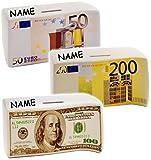 1 Stück _ Spardose -  Geldscheine - Bündel mit 50 / 200 Euro - 100 Dollar - S..