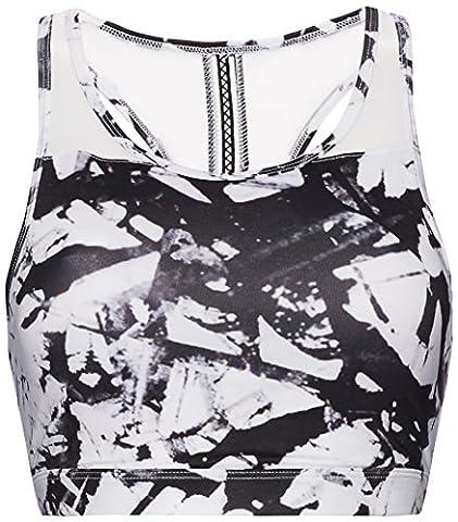 FIND Women's Scoop Neck Sports Bra, White (Glass Print),