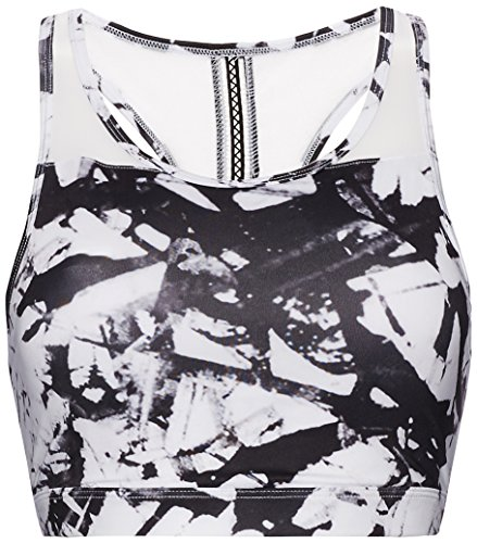 FIND Sujetador Deportivo para Mujer, Blanco (Glass Print), (Talla del fabricante: Large)
