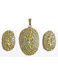 DollsofIndia Yellow And White Stone Studded Oval Shaped Pendant And Earrings - Stone And Metal (AS72-mod) - Yellow