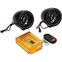 KKmoon Reproductor de Mp3 Altavoces Audio Sistema de Sonido Radio Alarma FM de Seguridad Control Remoto Inalámbrico con Ranura USB SD para Motocicleta