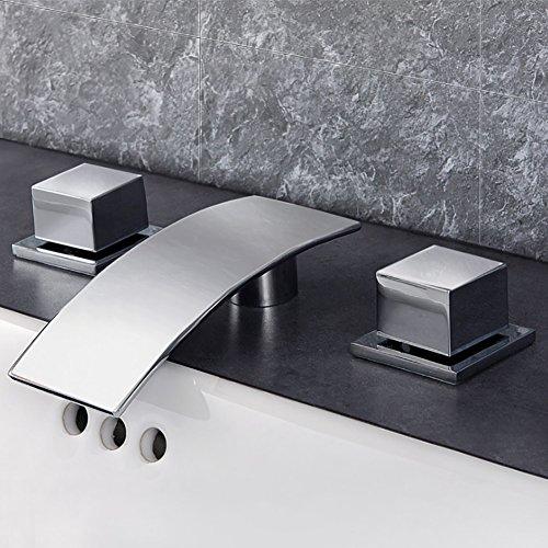 Qzny Messing Split Atemberaubende Wasserfall Tippen Bad Wasserhahn Hot Cold Doppelhebel Toilette Tap Garderobe Hotel Bar Kreative Persönlichkeit Einfach - Split Bad Bar