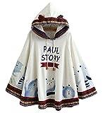 Cheerlife Damen Mädchen Herbst Winter Poncho Cape mit Kapuze Mantel Outwear Coat Katze Druck dreidimensionale Ohren Ponchojacke Beige
